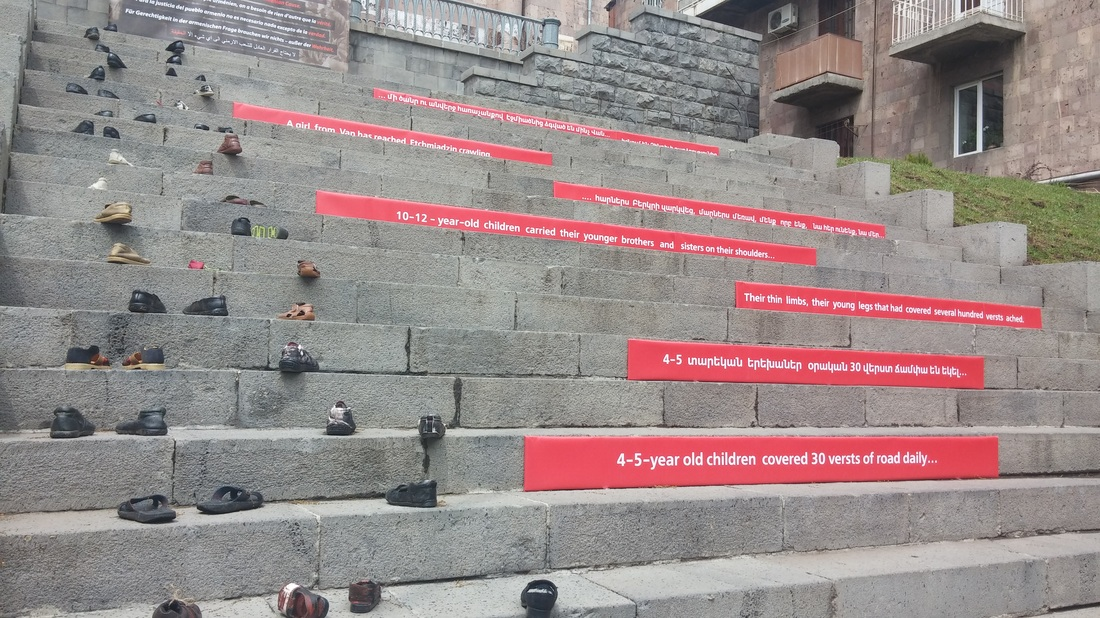 Installment of children's shoes in memory of the orphaned children who survived the genocide and crossed the border to independent Armenia barefoot and exhausted, Hovhannes Toumanian (poet and humanitarian) Museum, Yerevan (photo by Raffi Sarkissian)
